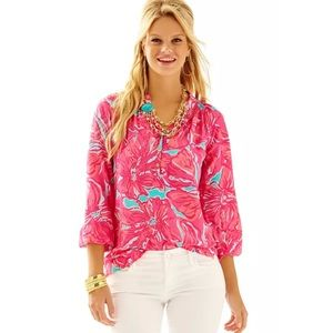 Lilly Pulitzer Elsa Flirty Sea Blue Floral Medium
